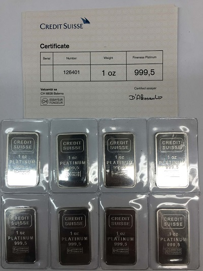 MGS platinum bullion bars