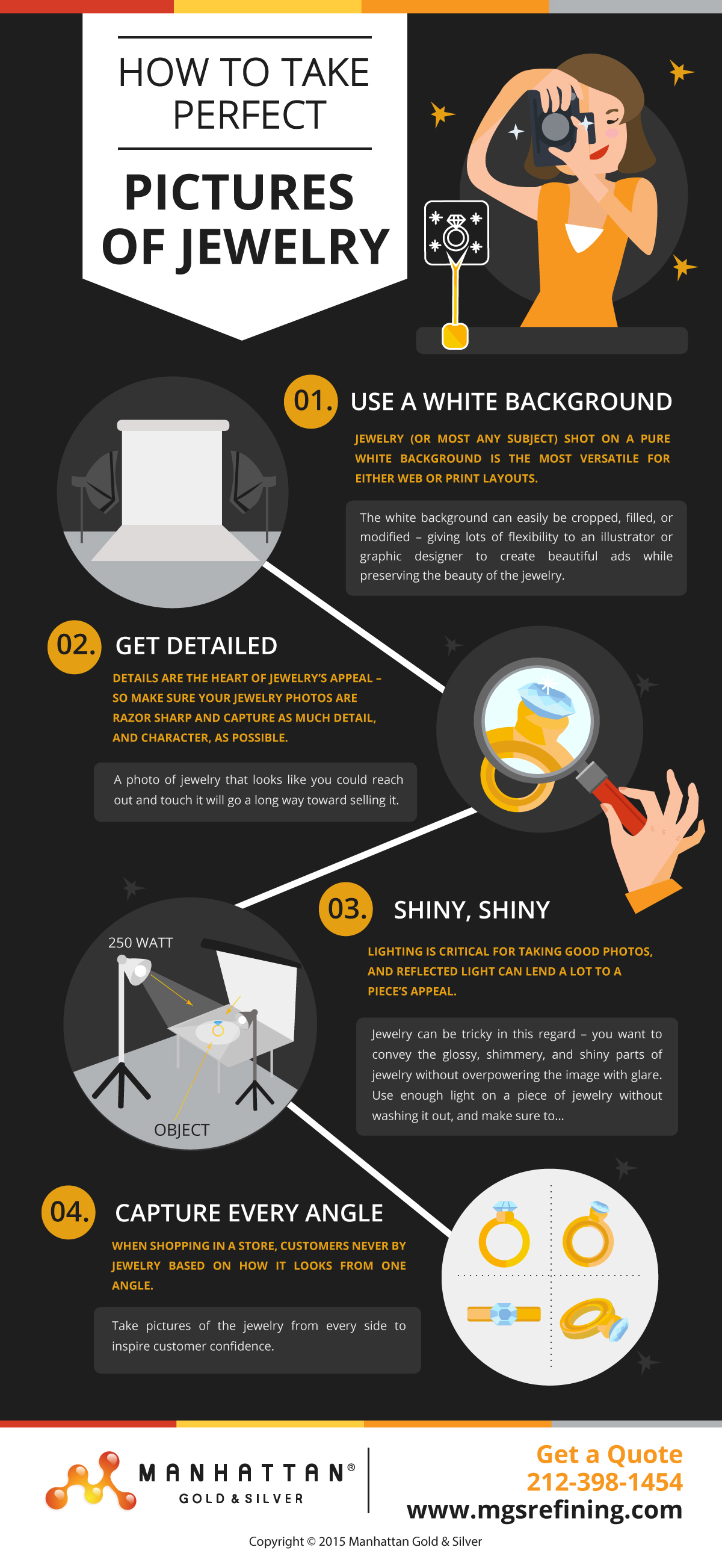 Jewelry photography tips infographic – MGS